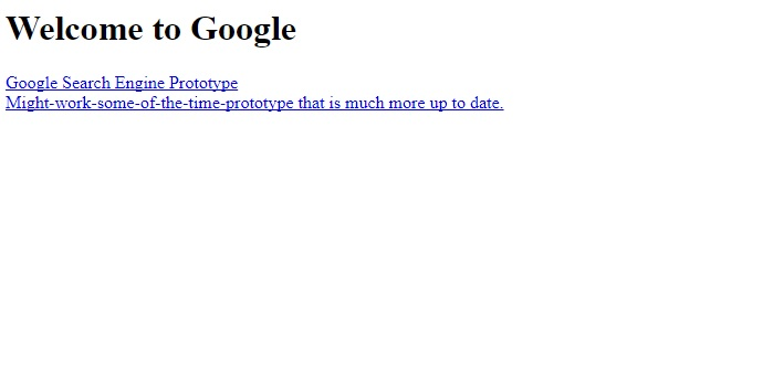 Google's first appearance on web