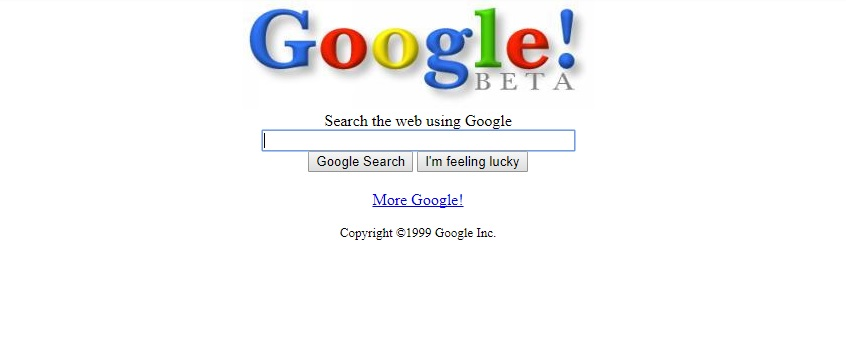 Google beta text only search appearance in 1999.