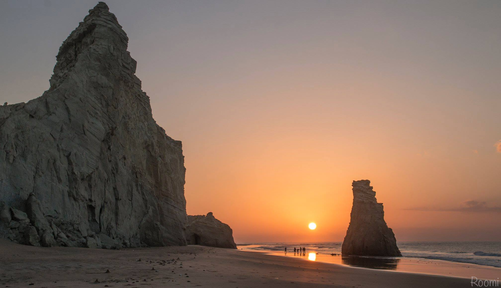 Golden Sun and Sky effect at evening, Sapat Beach Balochistan Pakistan