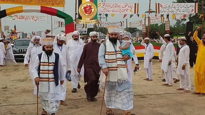 Custodians of Shrine Muhammad Naqeeb Ur Rehman Shah Naqeebi (Right) Muhammad Asad Ullah Shah Naqeebi (Left) coming to the venue for event along with their devotees and followers