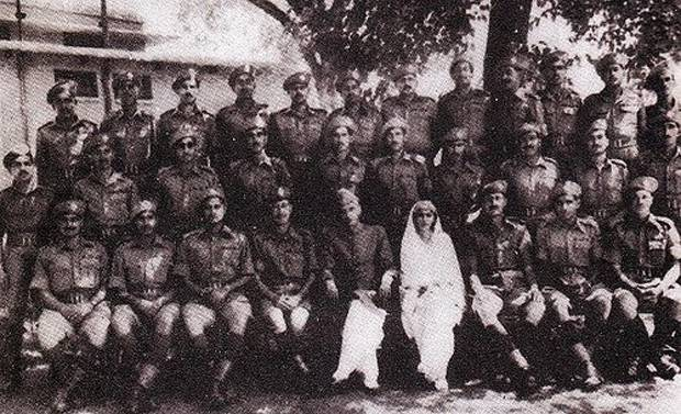 With his sister and soldiers